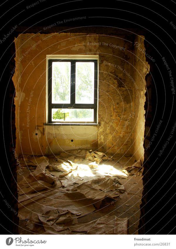 Window Dirty Transport Gloomy Broken Wallpaper Derelict Beautiful weather Plaster Dust Doorframe