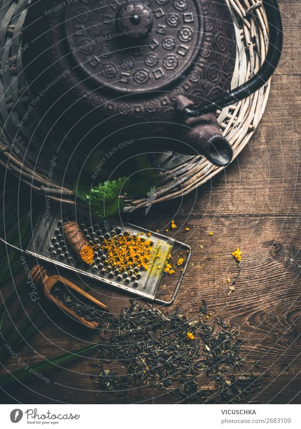 Iron teapot with fresh turmeric Food Herbs and spices Nutrition Organic produce Diet Asian Food Beverage Hot drink Tea Crockery Style Design Healthy