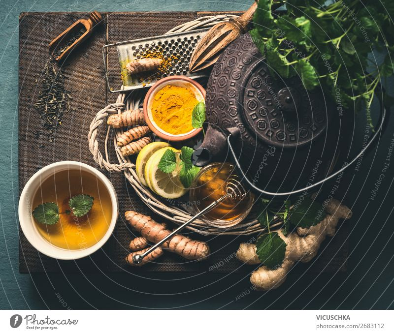 Ingredients For Healthy Turmeric Ginger Tea Food Herbs and spices Nutrition Breakfast Beverage Hot drink Crockery Cup Style Design Medical treatment
