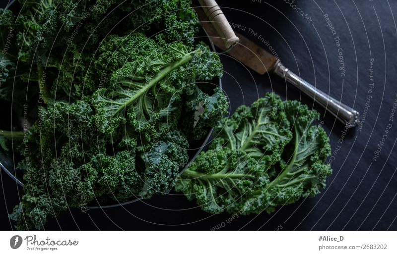 Fresh kale top view Food Vegetable Lettuce Salad Soup Stew Cabbage Kale Kale leaf Nutrition Vegetarian diet Diet Fasting Bowl Lifestyle Healthy Eating Table