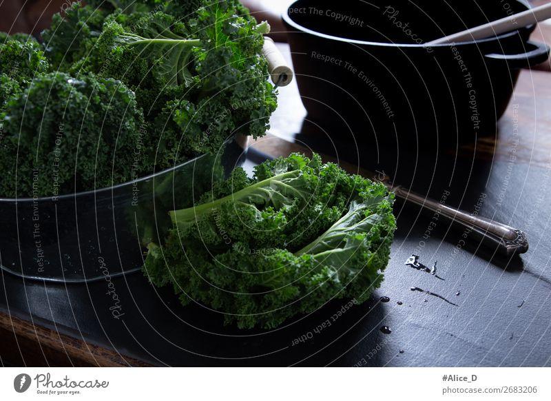 Fresh green cabbage Winter vegetables Food Vegetable Lettuce Salad Cabbage Kale Kale leaf Nutrition Organic produce Vegetarian diet Diet Fasting Bowl Pot Knives