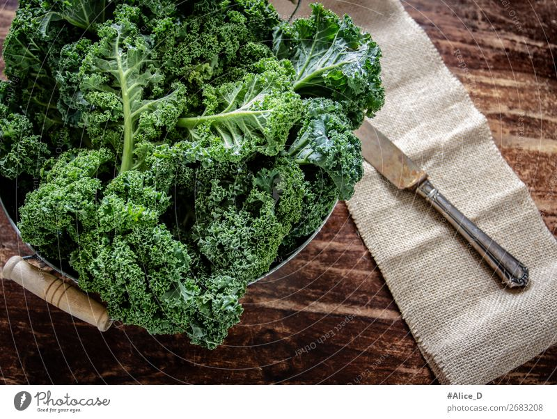 Fresh kale leaves Food Vegetable Lettuce Salad Cabbage Kale Kale leaf Bowl Knives Lifestyle Healthy Eating Wood Old Authentic Delicious Natural Brown Green