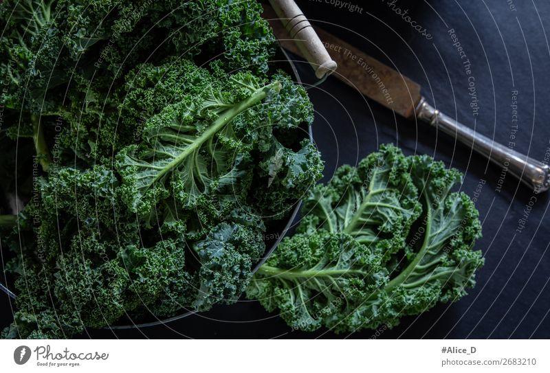 Fresh kale on black background Food Vegetable Lettuce Salad Kale Kale leaf Cabbage Nutrition Organic produce Vegetarian diet Diet Fasting Bowl Knives Lifestyle