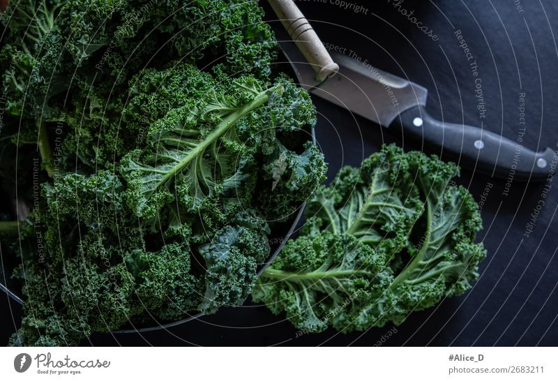 Fresh green cabbage Winter vegetables Food Vegetable Lettuce Salad Cabbage Kale Kale leaf Organic produce Vegetarian diet Diet Fasting Bowl Knives