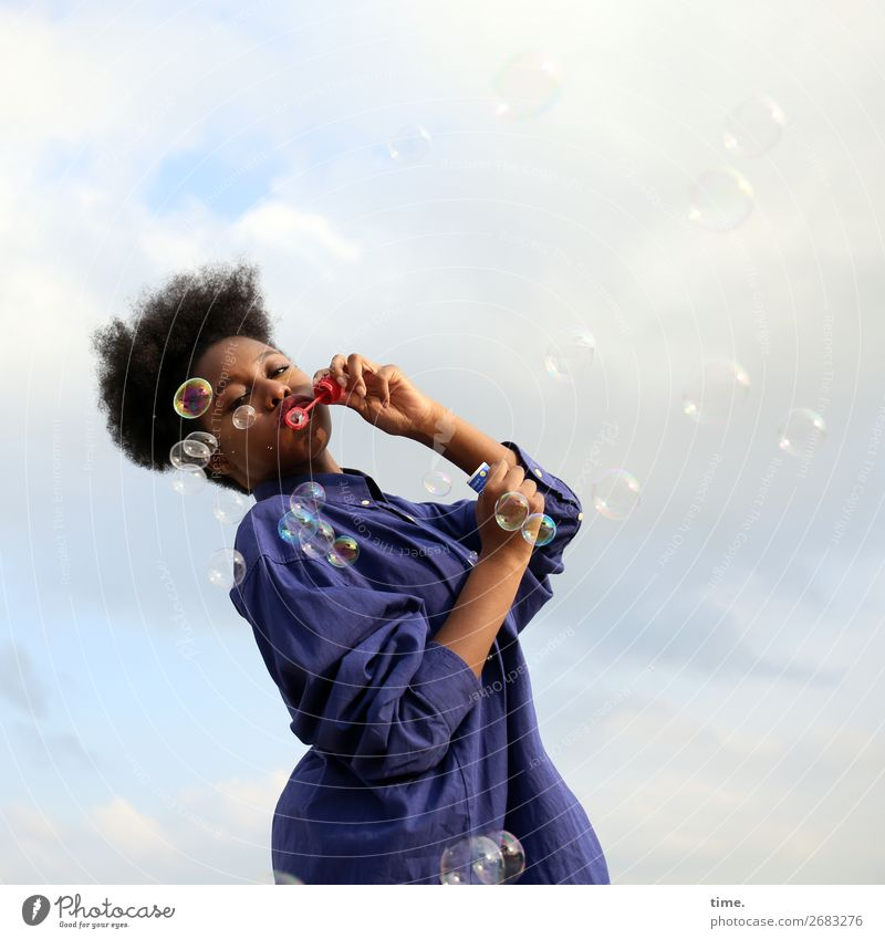 4900 soapbubbles Feminine Woman Adults 1 Human being Sky Clouds Beautiful weather Shirt Black-haired Afro Decoration Soap bubble Sphere Drop Movement Rotate