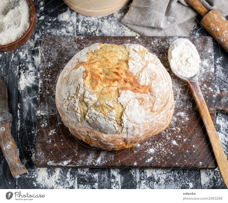 baked bread, white wheat flour Bread Bowl Spoon Table Kitchen Sieve Wood Make Dark Fresh Above Brown Black White Tradition Baking Bakery board cooking