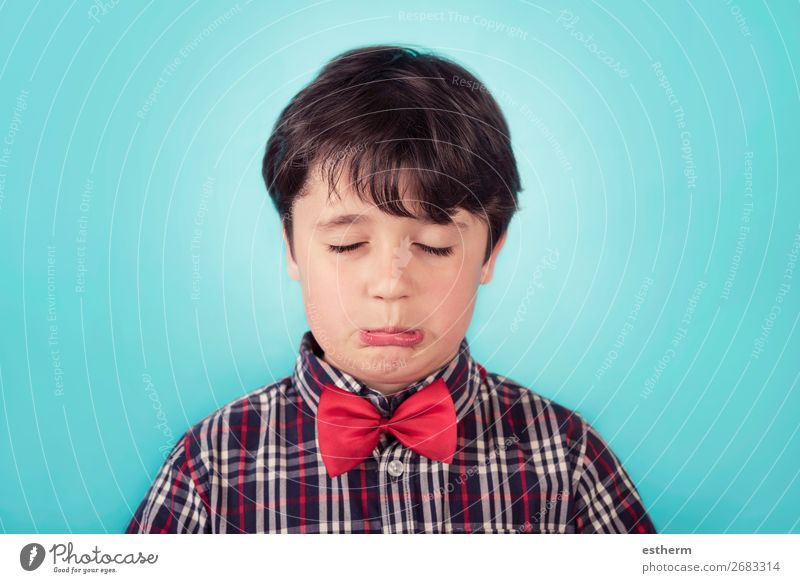 sad boy with bow tie Human being Masculine Child Toddler Infancy 1 8 - 13 years Think Fitness Sadness Cry Anger Emotions Concern Grief Loneliness Stress