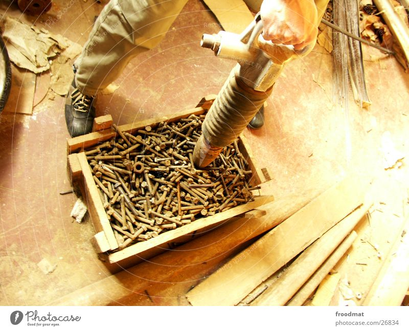 Screws for all Drill Crate Hand Dust Dusty Wood Craft (trade) Rust Old weathered powerful Wooden board