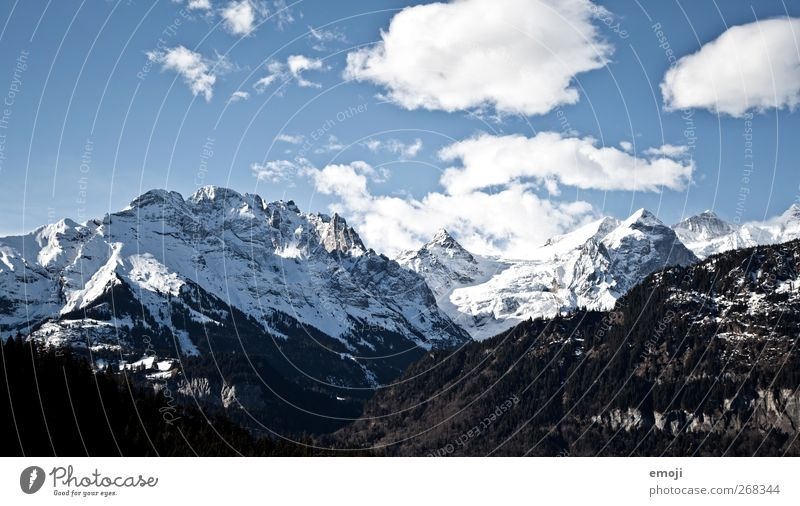 5 days Environment Nature Sky Clouds Winter Beautiful weather Ice Frost Snow Cold Blue Mountain range Alps Colour photo Exterior shot Deserted Day Sunlight
