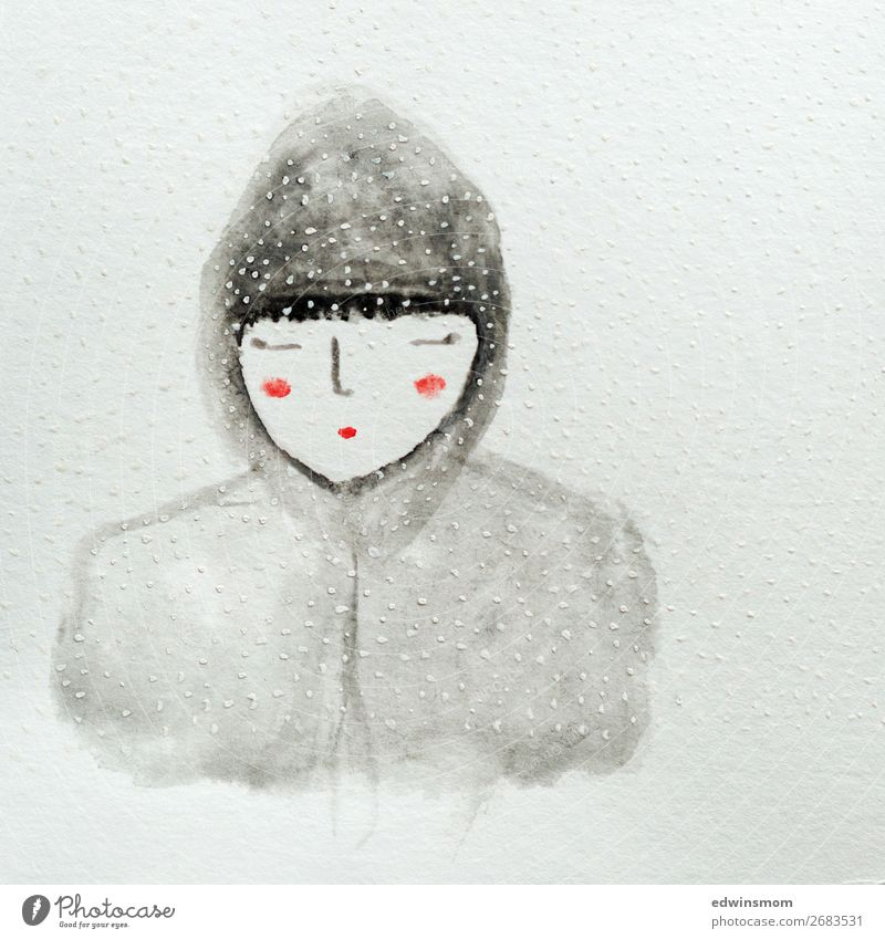 Snow flakes Winter Christmas & Advent Feminine Young woman Youth (Young adults) 1 Human being Snowfall Jacket Hooded (clothing) Black-haired Paper Decoration