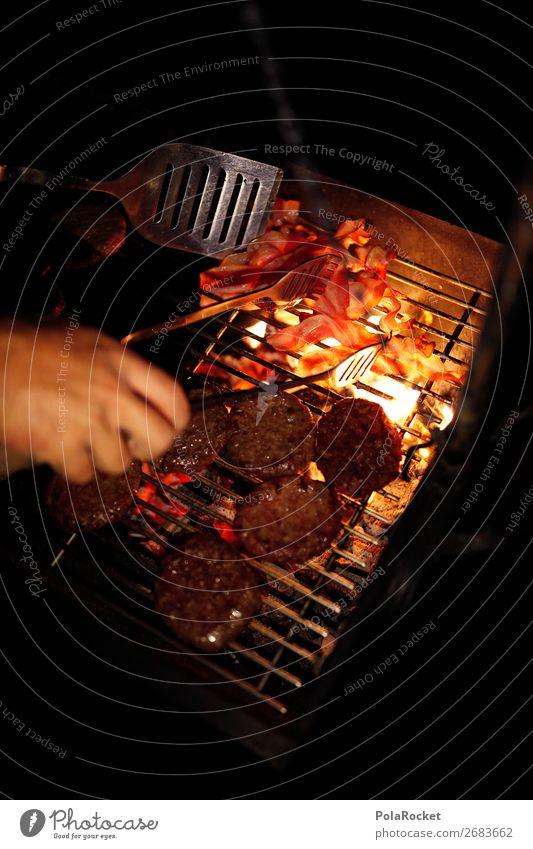 #AS# NightBruzzler Food Nutrition Esthetic Barbecue (event) Night mood Steak Bacon Delicious Hamburger Cheeseburger BBQ BBQ season Exterior shot Fire