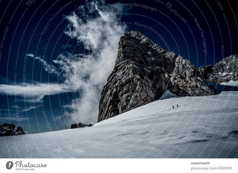 Descent from the summit of Dachstein Hiking Climbing Mountain Mountaineering Nature Landscape Clouds Winter Beautiful weather Fog Snow Rock Alps Peak Glacier