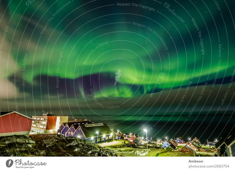 Green bright northern lights hidden by the clouds Vacation & Travel Ocean Winter House (Residential Structure) Nature Landscape Sky Clouds Climate Weather
