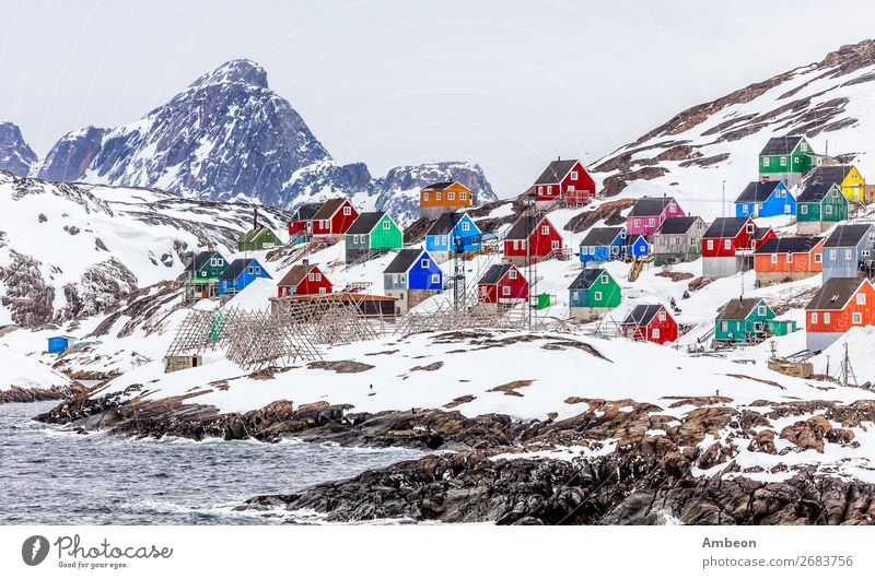 Kangamiut - colorful arctic village in the middle of nowhere Vacation & Travel Tourism Ocean Winter Snow Mountain House (Residential Structure) Nature Landscape