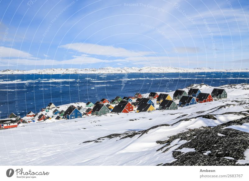 Rows of colorful Inuit houses, Nuuk Greenland Sky Vacation & Travel Town Colour Landscape Ocean House (Residential Structure) Clouds Winter Mountain