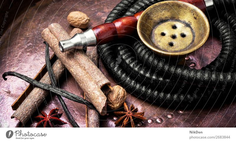 Nargile with spices hookah cinnamon baden vanilla tobacco smoke shisha relaxation east arabic pipe turkish aroma hookah lounge leisure mouthpiece exotic