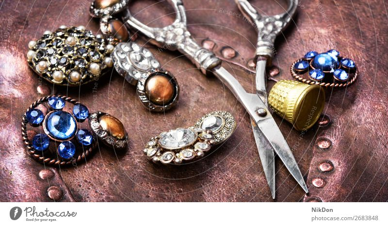 Stylish sewing accessories brooch fashion button jewelry beautiful decoration luxury accessory glamour vintage gem elegance shiny crystal bright metal antique
