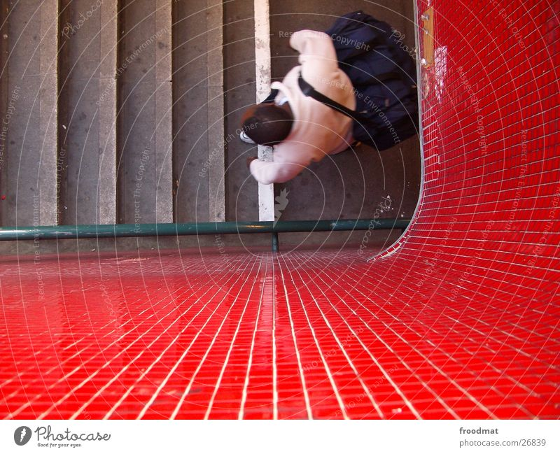 Red green stairs and from above Mosaic Underground Bird's-eye view Human being Tile Wedding Stairs Handrail