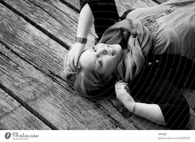 authentic Feminine Young woman Youth (Young adults) 1 Human being 18 - 30 years Adults Fashion Beautiful Smiling Lie Black & white photo Exterior shot