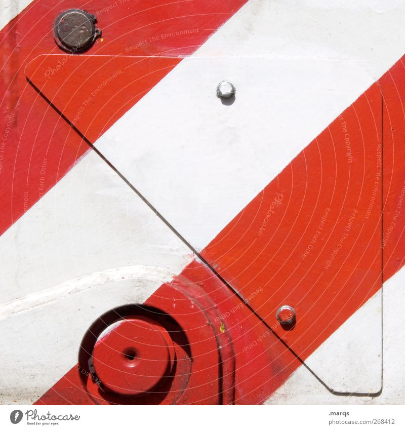 metal Style Design Industry Machinery Metal Signs and labeling Stripe Red White Colour Colour photo Exterior shot Close-up Abstract Pattern