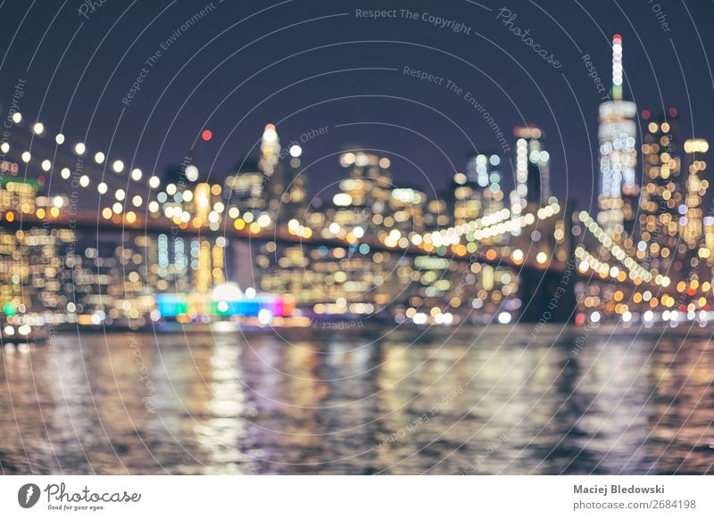 Blurred New York City skyline, USA. Lifestyle Shopping Luxury Elegant Style Money Vacation & Travel Night life Office Business River Downtown Skyline High-rise