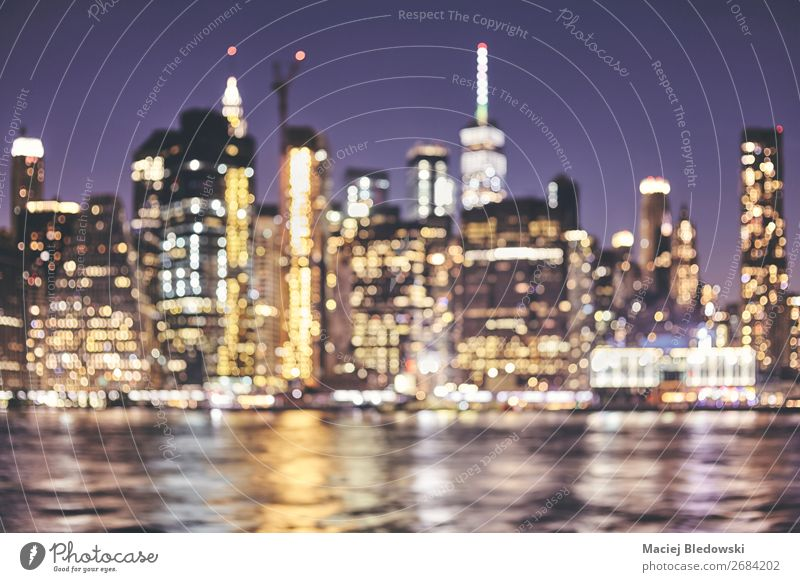Blurred New York City skyline, USA. Lifestyle Shopping Luxury Elegant Vacation & Travel Night life Office Business River Downtown Skyline High-rise Building