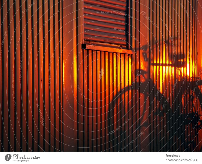 Summer Sun Red Window Warmth Movement Lamp Line Lighting Orange Bicycle Gold Facade Closed Stairs Stripe