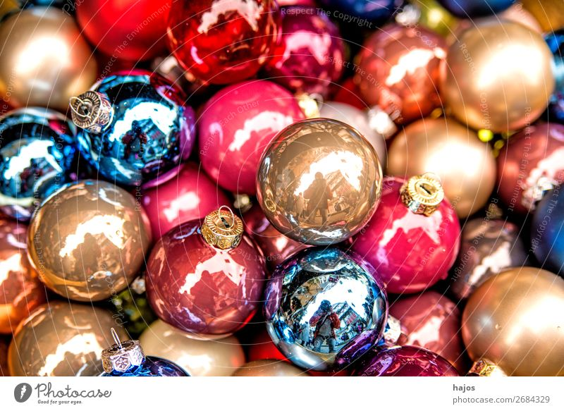 colorful Christmas tree balls at a Christmas market Design Decoration Christmas & Advent Ornament Multicoloured Glitter Ball variegated colored glass beads