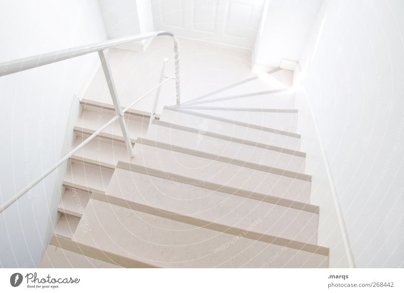 floor Stairs Staircase (Hallway) Banister Sign Bright Modern New Clean White Colour Lanes & trails Above Colour photo Interior shot Structures and shapes