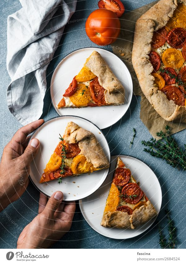 tomatoes and cheese tart or galette Cheese Vegetable Eating Breakfast Lunch Kitchen Hand Delicious Idea Tomato ready-to-eat Pie cake tarte recipes piece healthy