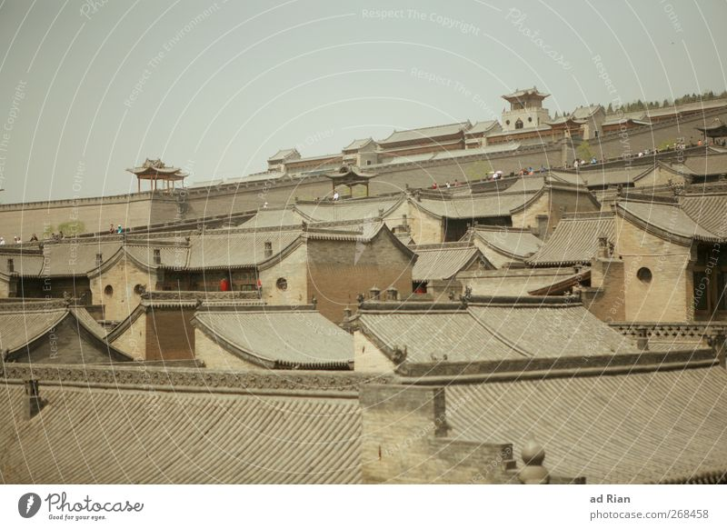 Nested Sky Cloudless sky Pingyao China Small Town Downtown Old town Skyline Populated House (Residential Structure) Hut Palace Castle Tower Wall (barrier)