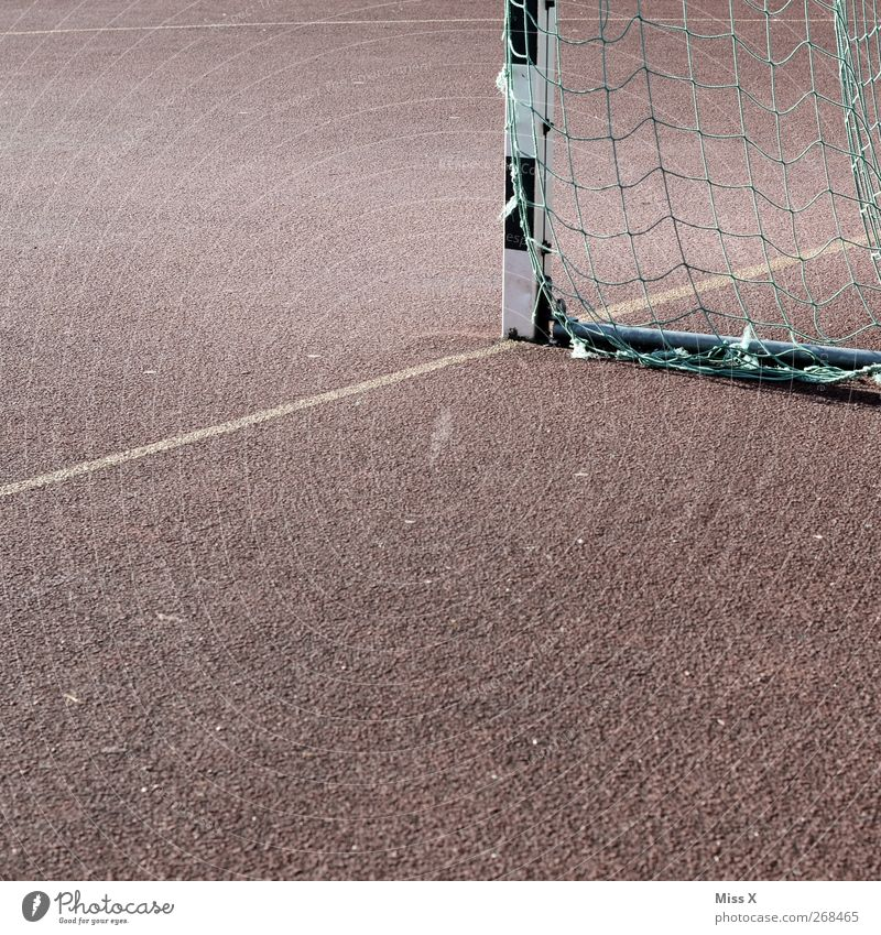 corner Leisure and hobbies Sports Sporting Complex Football pitch Hard court Goal Goal line Net Colour photo Subdued colour Exterior shot Abstract Deserted