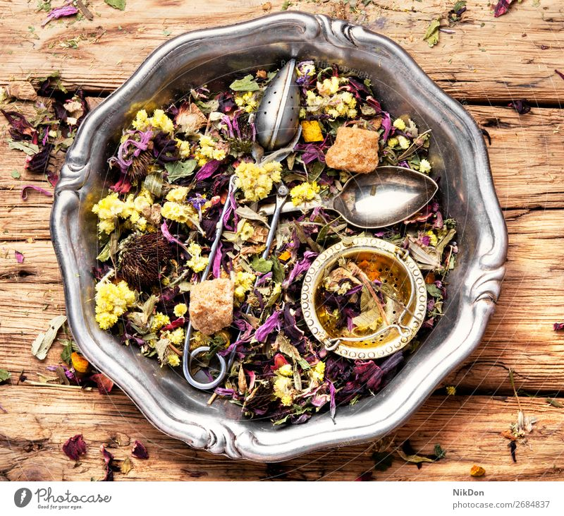Flower herb tea leaf drink healthy natural dry herbal rustic antioxidant plant flower aromatic spoon heap petal medicine hibiscus asian relaxation mix scoop