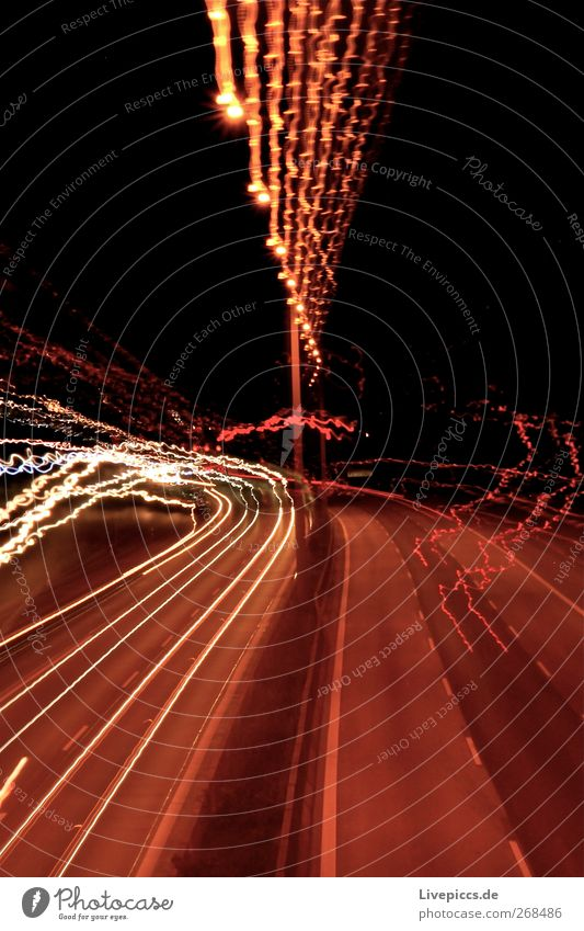 A7 Transport Traffic infrastructure Street Highway Bridge Car Looking Dark Crazy Speed Yellow Gold Red Black White Colour photo Exterior shot Deserted Night