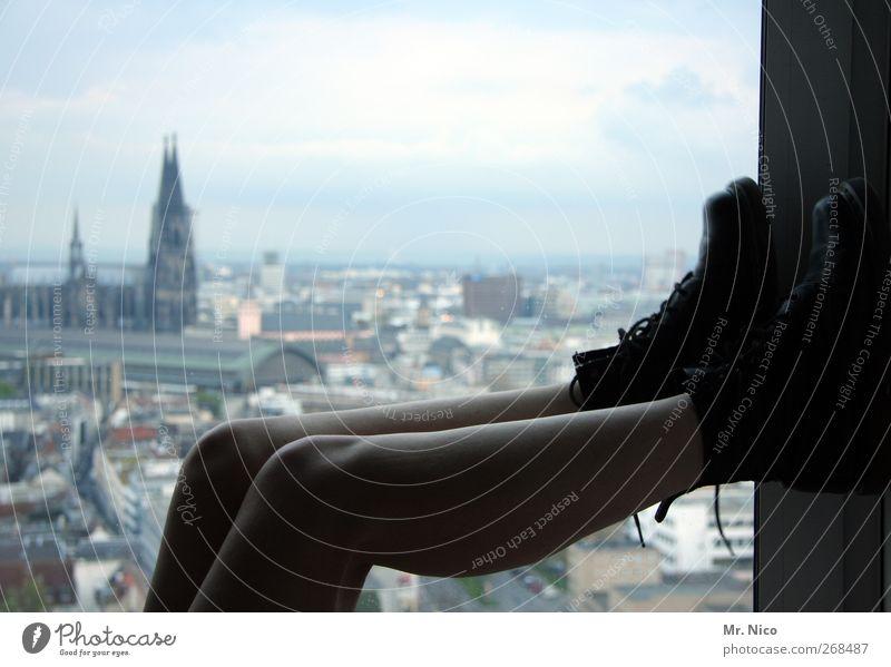 urban life Relaxation Calm Flat (apartment) Room Feminine Skin Legs Environment Horizon Town Downtown Skyline High-rise Dome Building Architecture Footwear Lie