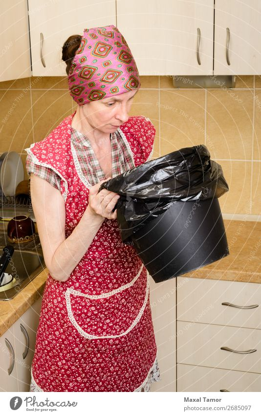 Woman Human being Lifestyle Adults Observe Kitchen Plastic Trash Odor Carrying Conceptual design Hold Tin Recycling Caucasian Garbage bag
