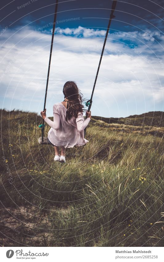 Human being Sky Vacation & Travel Nature Youth (Young adults) Young woman Summer Blue Beautiful Green Landscape Relaxation Joy 18 - 30 years Adults Natural
