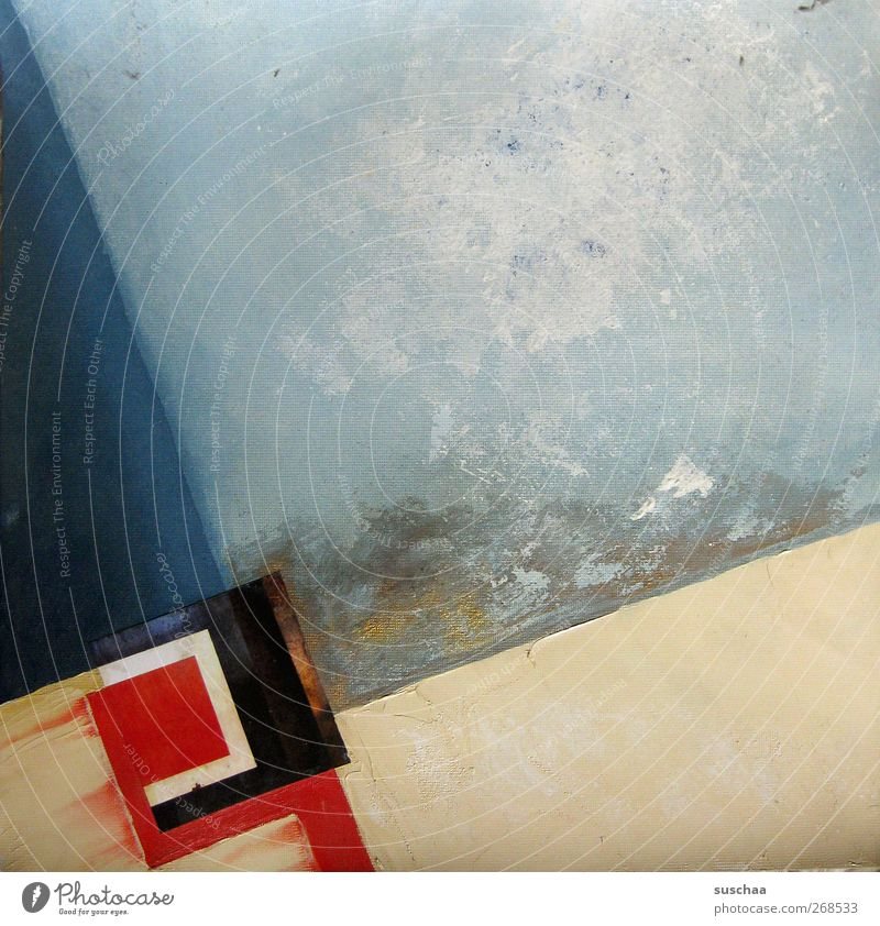 picture Art Work of art Painting and drawing (object) Blue Red Abstract Oil paint Canvas collage Colour photo Exterior shot Structures and shapes Deserted