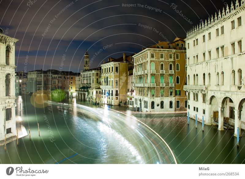 At night in Venice Tourism City trip Italy Europe Old town House (Residential Structure) Palace Waterway Esthetic Serene Transience Strip of light Colour photo
