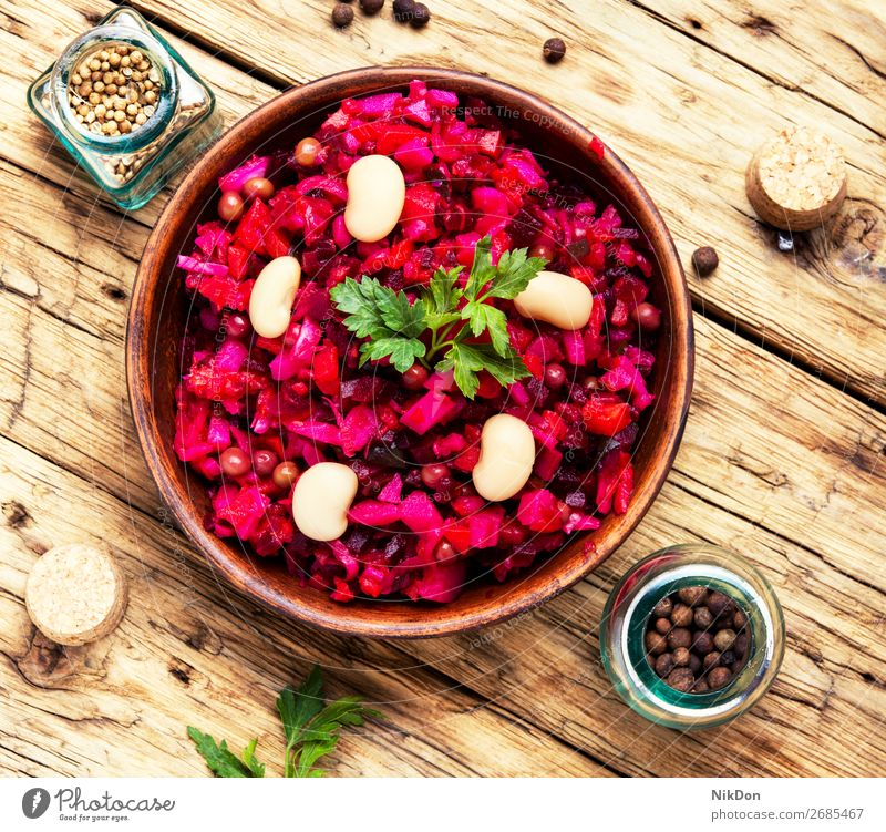 russian salad vinaigrette vegetarian food vegetable cucumber healthy eating diet beetroot appetizer potato carrot red pea pickled dish vitamin russian food