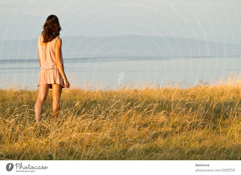 Human being Woman Nature Youth (Young adults) Water Vacation & Travel Ocean Summer Loneliness Spring Grass Freedom Lake Contentment Back Young woman