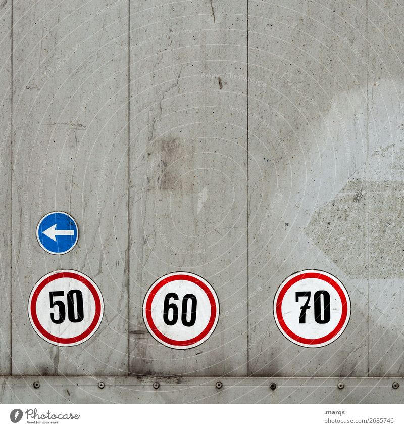 40 Transport Means of transport Logistics Truck Sign Characters Signage Warning sign Arrow Road sign Speed Simple Safety 50 Jubilee Birthday 6 7 Colour photo