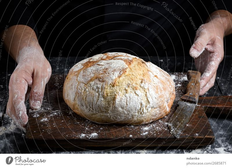 round baked homemade bread Food Dough Baked goods Bread Table Kitchen Hand Wood Make Dark Fresh Brown Black White Tradition Baking Bakery board cooking