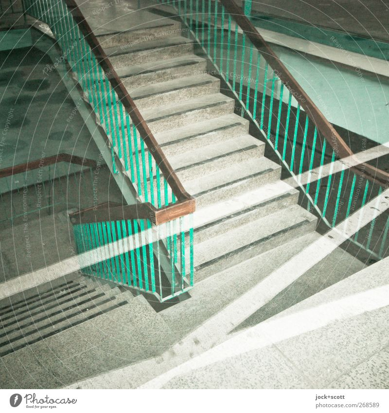 Stairs without joke Office building Banister Staircase (Hallway) Stone Crucifix Line Stripe Sharp-edged Bright Clean Gloomy Under green Moody Tolerant