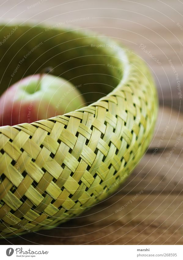 Apple in basket Food Fruit Nutrition Green Basket Close-up Healthy Decoration Wooden table Living or residing Bast Colour photo Interior shot Day