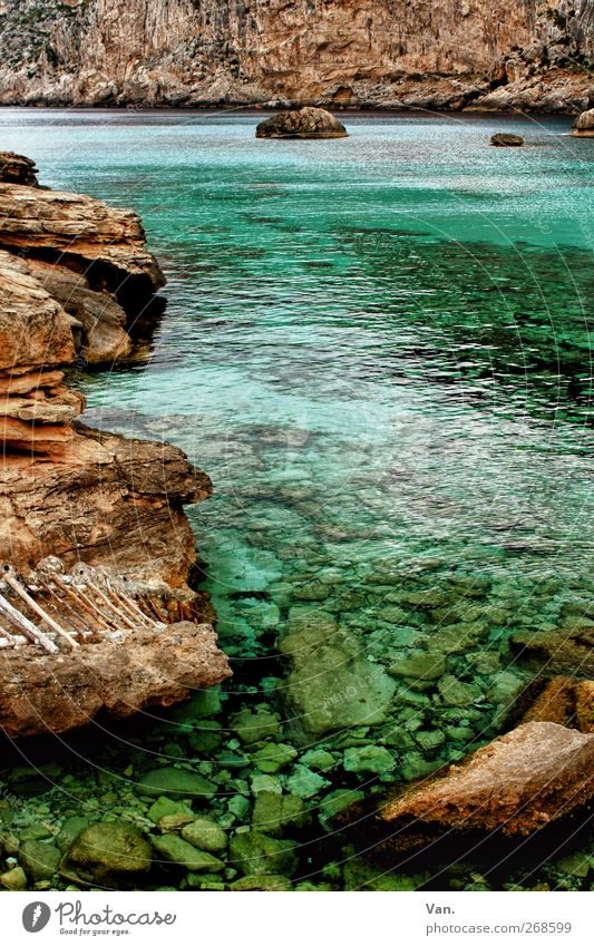 Cala Figuera Relaxation Calm Vacation & Travel Nature Landscape Water Spring Rock Coast Bay Ocean Mediterranean sea Stone Blue Brown Ladder Turquoise