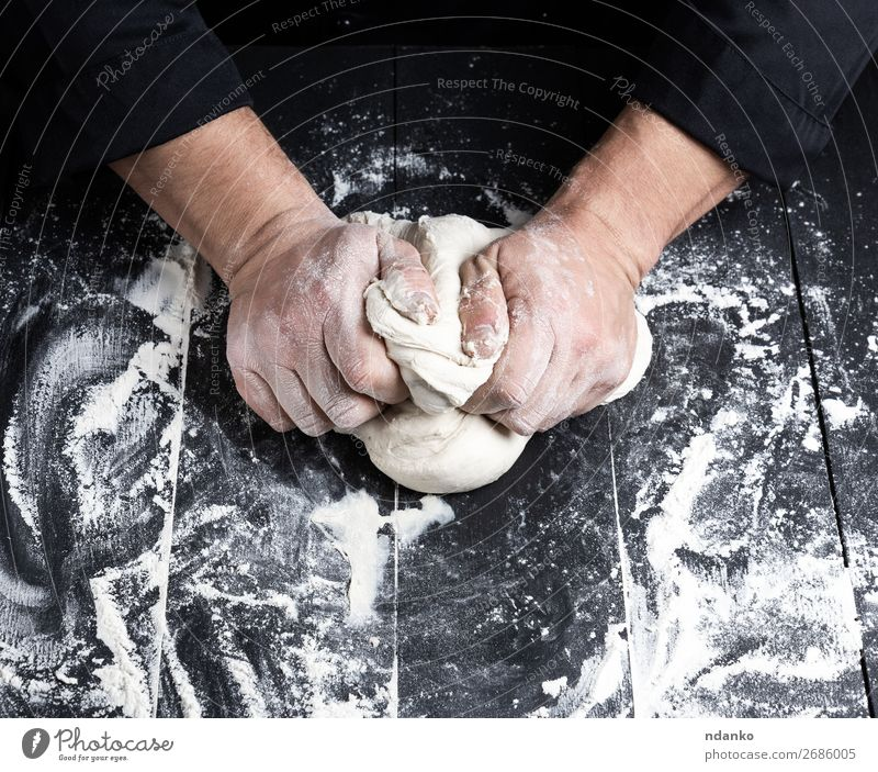 baker kneads white wheat flour dough Man White Hand Black Adults Wood Nutrition Table Kitchen Baked goods Tradition Cooking Bread Make Meal Baking