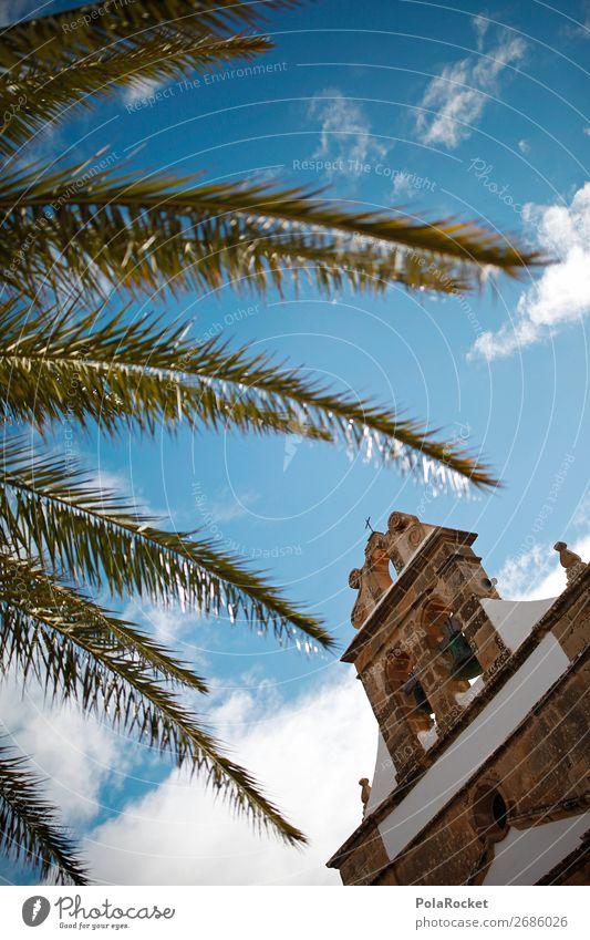 #AS# Church diagonal Art Esthetic Sky Heaven Religion and faith House of worship Fuerteventura Palm frond Vacation photo City trip Colour photo Subdued colour