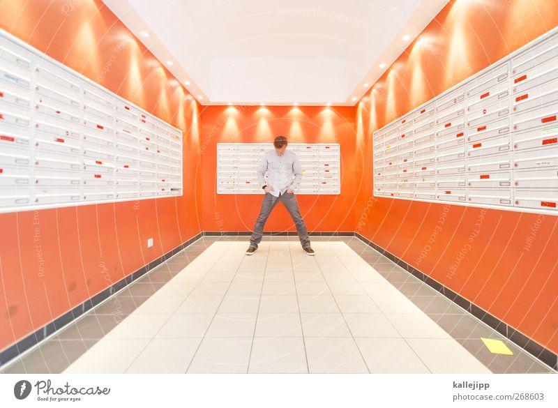 Return to sender Human being Masculine 1 High-rise Stand Mailbox Interior design Symmetry Addressee Orange Anonymous Future Colour photo Interior shot