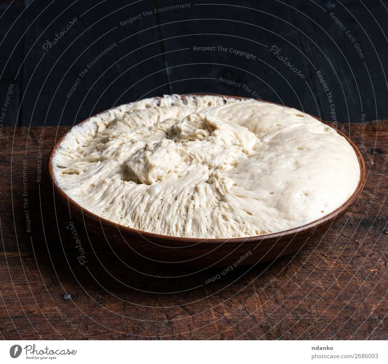 yeast dough in a ceramic plate Dough Baked goods Bread Nutrition Plate Kitchen Wood Eating Fresh Brown White Yeast Pizza Raw food Flour round Home-made